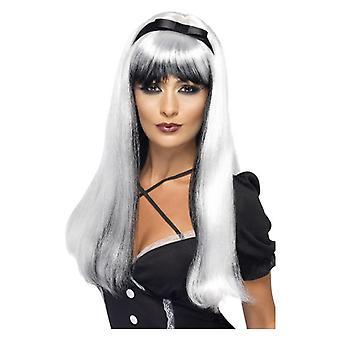 Womens White & Black Bewitching Halloween Wig