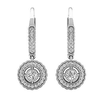 Dazzlingrock Collection 0.50 Carat (ctw) 10K Round Diamond Ladies Halo Style Dangling Drop Earrings 1/2 CT, White Gold