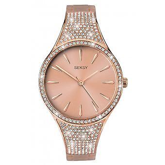 Seksy Ladies Seksy 2669 Round Rose Dial Rose Swarovski Crystals Bangle Bracelet Watch