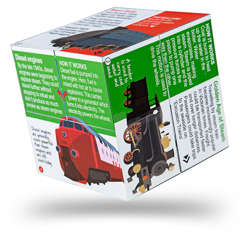ZooBooKoo Educational History of Trains Cubebook - Fold-Out Cube