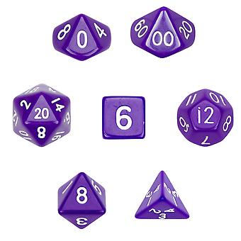 7 Die Polyhedral Dice Set w Velvet Pouch-Opaque Purple