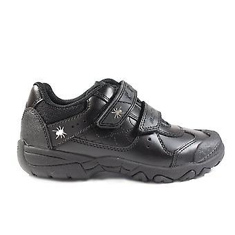 Startrite Tarantula Black Leather Boys Rip Tape Trainer School Shoes
