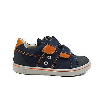 Ricosta Nippy 2623000-170 Navy/Orange Leather Boys Rip Tape Causal Shoes