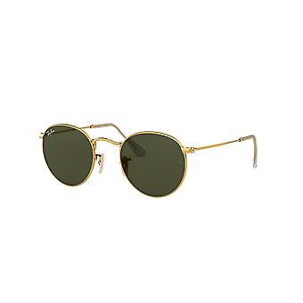 Ray-Ban Round Metal RB3447 001 Gafas de Sol Gold/Crystal Green