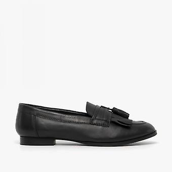 Comfort Plus Fringe Ladies Leather Loafers Black