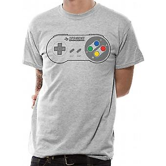 SNES Controller Pad Męskie Szary T-Shirt X-Large