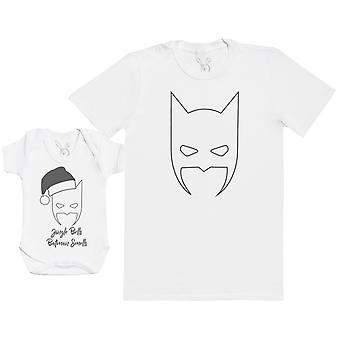 Jingle Bells Batman Smells Matching Father Baby Gift Set - Mens T Shirt & Baby Bodysuit