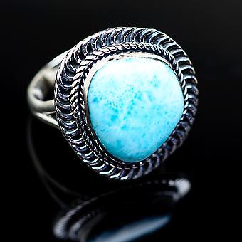 Larimar anillo tamaño 9 (925 plata de ley) - hecho a mano Boho Vintage joyería RING979483