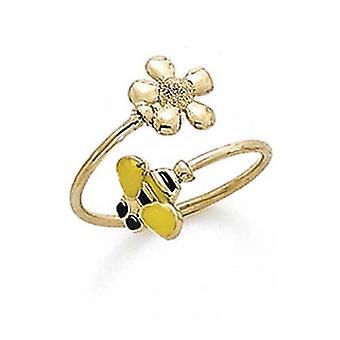 14k Yellow Gold Enamel Bee Flower Toe Ring Jewelry Gifts for Women - .9 Grams
