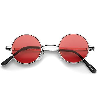 Small Retro Lennon Inspired Style Colored Lens Round Metal Sunglasses