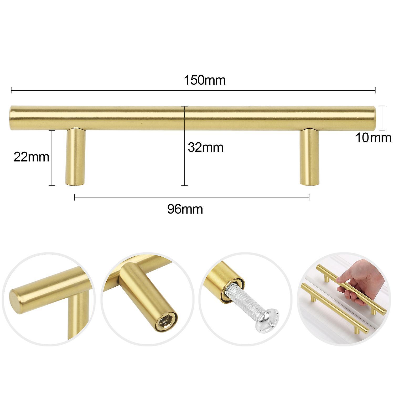 TRIXES 20Pcs Gold Steel Door Handles - Kitchen Cabinet Door Drawer 150mm