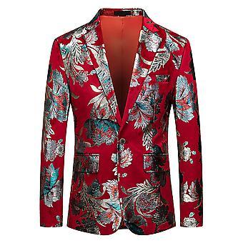 Allthemen Men's Casual Fashionable One-button Printed Suit Jacket