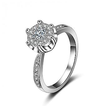 18k white-gold plated stella engagement ring