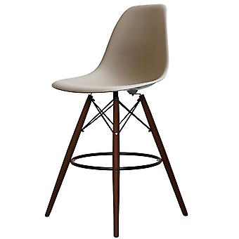 Charles Eames estilo beige plastic bar taburete - patas de nogal