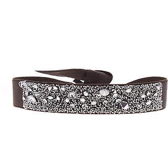 Bracelet interchangeable A39573 - fabric Brown woman Swarovski crystals Bracelet