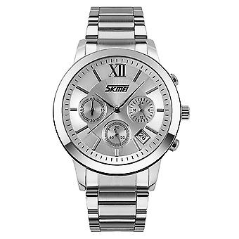 Skmei Mens Silver Chronograph Watch Multi Dial Date Display Stainless Steel Strap 9097S