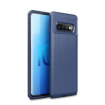 For Samsung Galaxy S10 5G tilfelle, rustning dekke karbonfiber tekstur tynn, blå