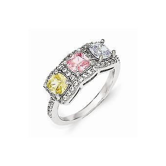 Cheryl M 925 Sterling Silver Multi colored CZ Cubic Zirconia Simulated Diamond 3 Stone Ring Jewelry Gifts for Women - Ri