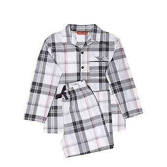 Minijammies 6466 Boy's Jackson Grey Check Cotton Woven Pyjama Set