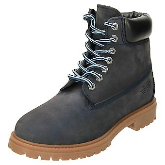 Red Tape Lace Up Ankle Boots Nubuck Leather Blue