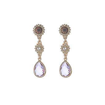 Lilac Gem Gold Drop Earrings