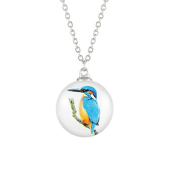 Eternal Collection Feathered Friends Kingfisher Double Sided Glass Silver Tone Bird Pendant