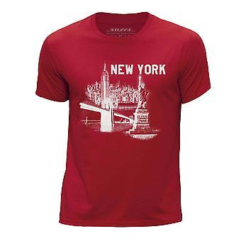 STUFF4 Chłopca rundy szyi koszulka / New York Landmark szkic/czerwony