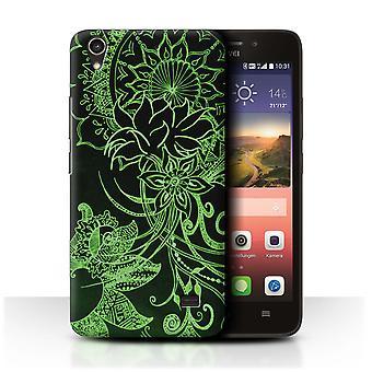 STUFF4 Fall/Abdeckung für Huawei Ascend G620S/Schwarz/Grün/Henna Paisley Blume