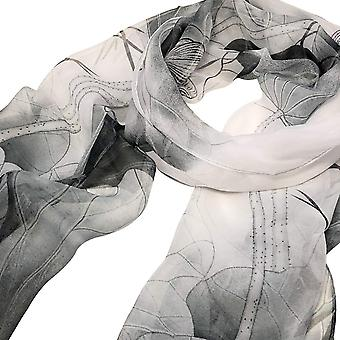Wrapables Lightweight Sheer Silky Feeling, Gray Lotus Flower, Size One Size
