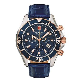 Reloj militar alpino suizo reloj cronógrafo analógico cuarzo 7040.9555SAM cuero