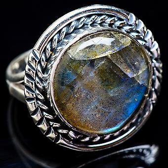 Large Labradorite Ring Size 7.5 (925 Sterling Silver)  - Handmade Boho Vintage Jewelry RING3444