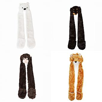Womens/Ladies Faux Fur Animal Hat With Attached Scarf And Pockets