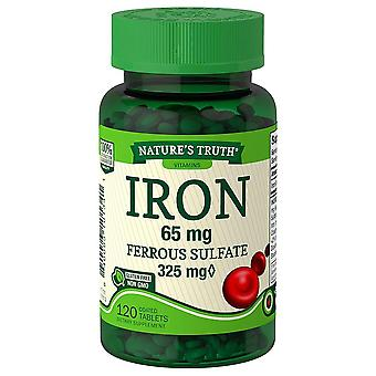 Nature's truth iron, 65 mg, ferrous sulfate, coated tablets, 120 ea