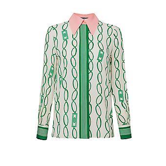 Elisabetta Franchi Ca25801e2y64 Damen's weiß/grün Viskose Shirt