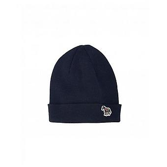 Paul Smith Accessories 'Zebra' Logo Ribbed Lambswool Beanie Hat