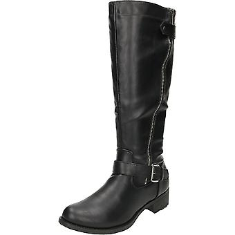 Krush Knee High Flat Boots Riding Style Black