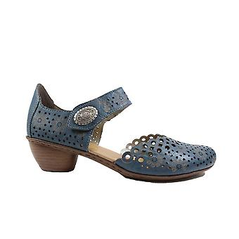 Rieker 43753-12 Blue Leather Womens Rip Tape Summer Shoes