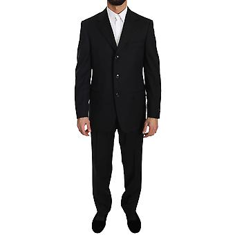 Black two piece 3 button wool-suit a87