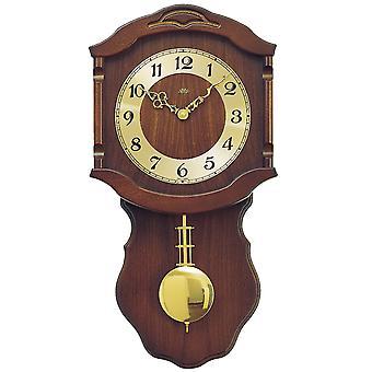 AMS 964/1 wall clock quartz with pendulum golden wood walnut colors pendulum clock