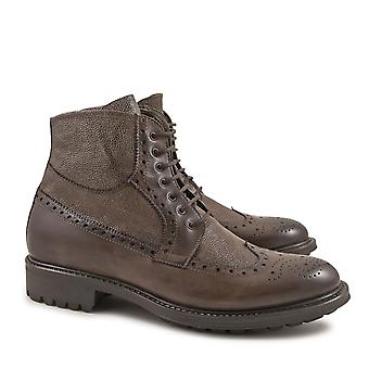 Handmade oxfords lace-up ankle boots taupe color