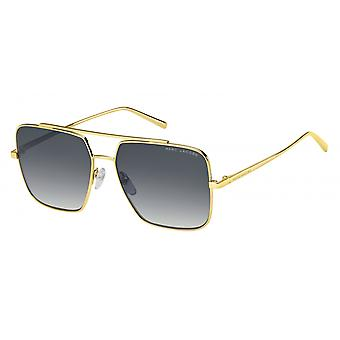 Sunglasses Men's rectangular double bridge gold/dark grey