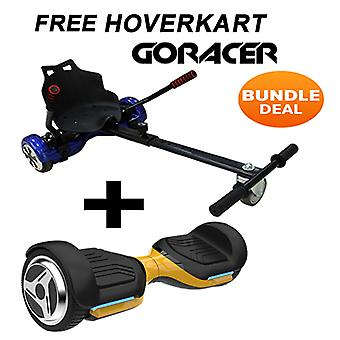 G PRO Gold Segway with a Racer Hoverkart in Black