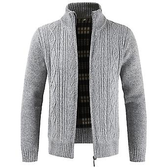 Allthemen Men's Sweater Cardigan Thickened Jacket Stand Collar Zipper Sweater