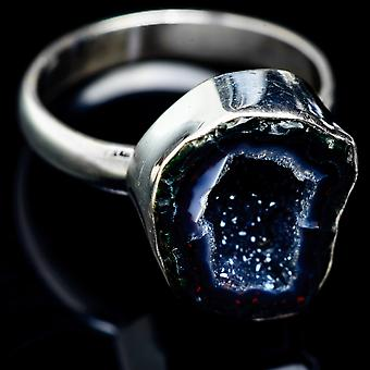 Coconut Geode Druzy Ring Size 11.75 (925 Sterling Silver)  - Handmade Boho Vintage Jewelry RING5239