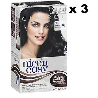 3 x Clairol Nice 'n Easy Permanent Hair Colour - 2 Natural Black (Former 122)