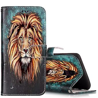 Für Samsung Galaxy S9 PLUS Brieftasche Fall Leder Löwe Muster