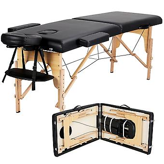 Pro Portable Massage Table, Lightweight Folding Facial SPA Bed Tattoo Beauty Therapy Couch Bed W/Carry BagBlack Wooden