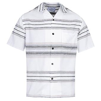 Portuguese Flannel Native Pattern White Short Sleeve Shirt