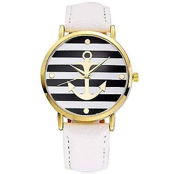 Ahoy! anchor watch in white and black stripes for woman