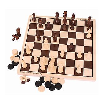 Bigjigs Toys Traditional Wooden Draughts & Chess Game Set Family Board Playset